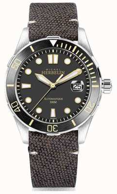 Michel Herbelin | mens | Newport | troféu | pulseira de couro marrom lona | 1660/ATN14