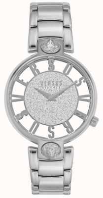 Versus Versace | kirstenhof para mulher | pulseira de aço prateado | mostrador de brilho VSP491319