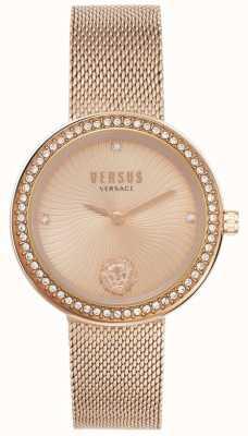 Versus Versace | léa para mulher | pulseira de malha de ouro rosa | mostrador em ouro rosa | VSPEN0919