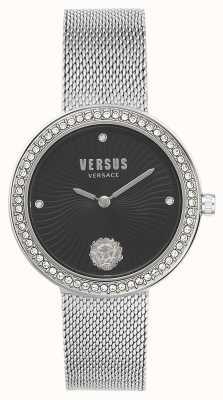Versus Versace | léa para mulher | pulseira de malha de prata | mostrador preto | VSPEN0719