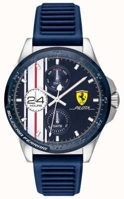 Scuderia Ferrari | pilota para homem | pulseira de borracha azul | mostrador cronógrafo azul | 0830660