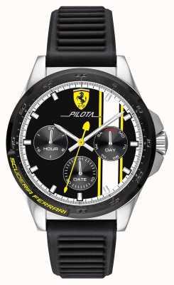 Scuderia Ferrari | pilota para homem | pulseira de borracha preta | mostrador cronógrafo preto 0830659