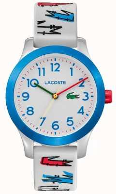 Lacoste | crianças 12,12 | pulseira impressa em borracha branca | mostrador branco | 2030021