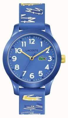 Lacoste | crianças 12,12 | pulseira impressa em borracha azul | mostrador azul | 2030019