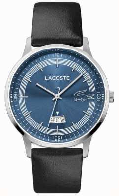 Lacoste | madrid masculino | pulseira de couro preto | mostrador azul | 2011034