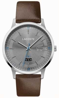 Lacoste | madrid masculino | pulseira de couro marrom | mostrador cinza | 2011033
