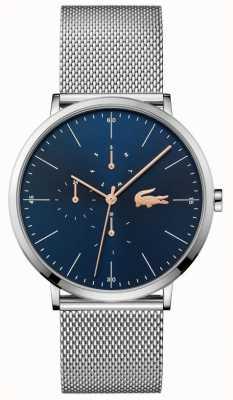Lacoste | lua dos homens multi | pulseira de malha de aço | mostrador azul | 2011024