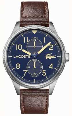 Lacoste | continental masculino | pulseira de couro marrom | mostrador azul | 2011040