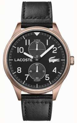 Lacoste | continental masculino | pulseira de couro preto | mostrador preto | 2011042
