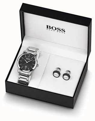 Boss | mens | conjunto preto de relógio e botão de punho | 1570091