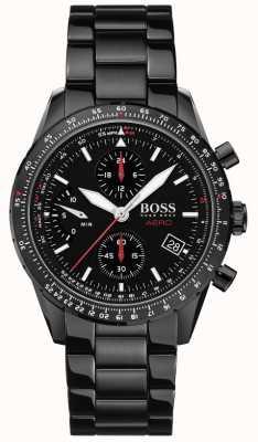 Boss | aero | cronógrafo preto | relógio pulseira preta | 1513771