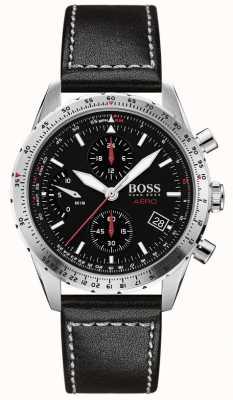 Boss | aero | cronógrafo preto | pulseira de couro preto | 1513770