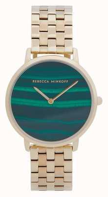 Rebecca Minkoff Major das mulheres | pulseira de aço banhado a ouro | mostrador em malaquita 2200373