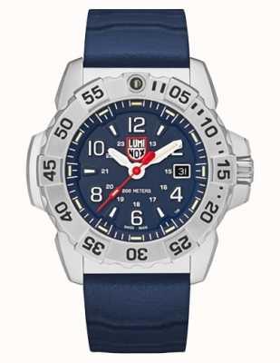 Luminox | selo náutico aço série 3250 | pulseira de borracha azul | mostrador azul XS.3253