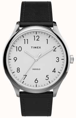 Timex | leitor fácil 40mm | pulseira de couro preto | mostrador branco | TW2T71800