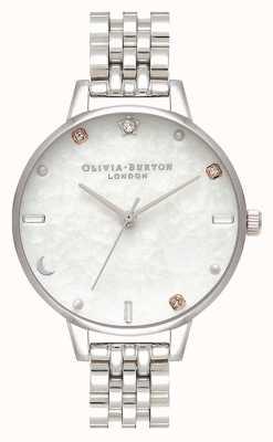 Olivia Burton | estrela celeste e pulseira de prata da lua | madrepérola OB16GD30