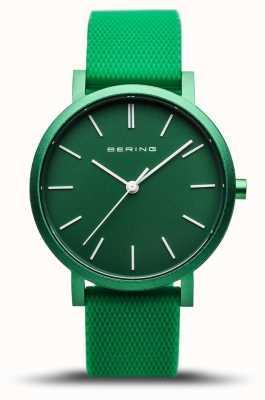 Bering | verdadeira aurora | pulseira de borracha verde | mostrador verde | 16934-899