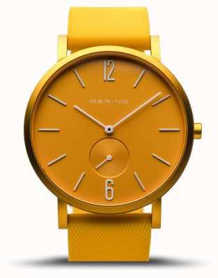 Bering | verdadeira aurora | pulseira de borracha amarela | mostrador amarelo | 16940-699