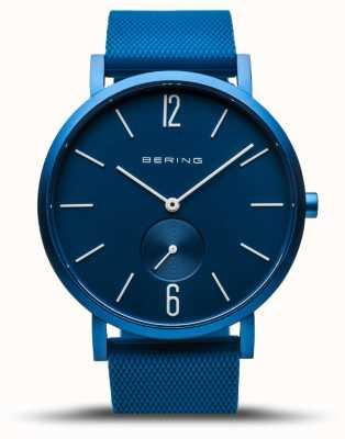 Bering | verdadeira aurora | pulseira de borracha azul | mostrador azul | 16940-799