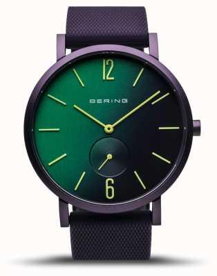 Bering | verdadeira aurora | pulseira de borracha roxa | mostrador verde / roxo | 16940-999