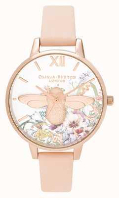 Olivia Burton | mulheres | jardim encantado | Abelha 3d | pulseira de couro pêssego | OB16EG151