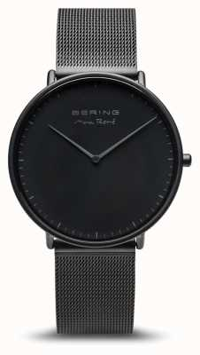 Bering   max rené   tapete de homem preto   pulseira de aço preto   15738-123