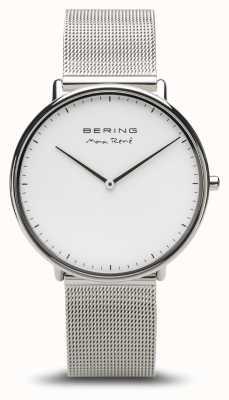 Bering   max rené   prata polida para homem   pulseira de malha de prata   15738-004