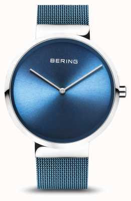Bering | clássico prata polida / escovada | pulseira de malha azul | 14539-308