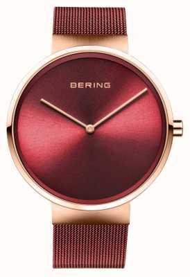 Bering | clássico ouro rosa polido / escovado | pulseira de malha vermelha | 14539-363