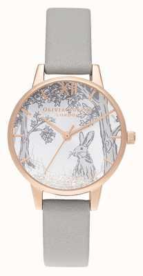 Olivia Burton | mulheres | coelho de inverno globo de neve | pulseira de couro cinza OB16SG06