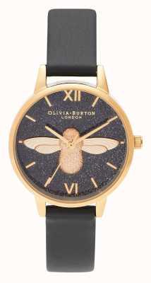 Olivia Burton | mulheres | mostrador de glitter | Abelha 3d | pulseira de couro preto | OB16GD48