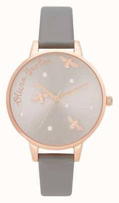 Olivia Burton | mulheres | rainha perolada | pulseira de couro vegan cinza londres | OB16PQ03
