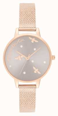 Olivia Burton | mulheres | rainha perolada | pulseira de malha de ouro rosa | OB16PQ04