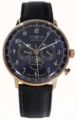 Zeppelin | fase da lua de hindenburg | pulseira de couro azul | 7038-3