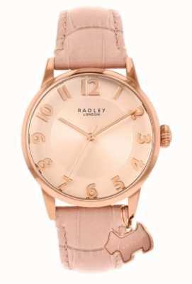 Radley Rua Liverpool | pulseira de couro rosa | mostrador rosa | RY2872