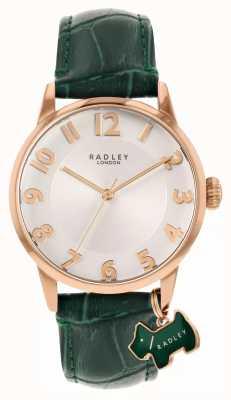 Radley Rua Liverpool | pulseira de couro verde | mostrador branco | RY2870