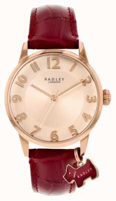 Radley Rua Liverpool | pulseira de couro cor de vinho | mostrador em ouro rosa | RY2866