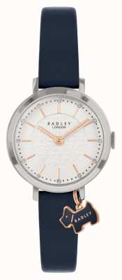 Radley Rua Selby | pulseira de couro azul marinho | mostrador prateado | RY2861