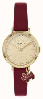 Radley Rua Selby | pulseira de couro cor de vinho | mostrador de ouro | RY2862