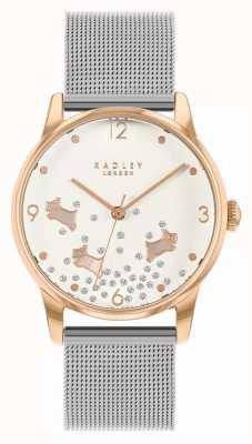Radley Ditsy cachorro glitter | pulseira de malha de prata | mostrador prateado | RY4405