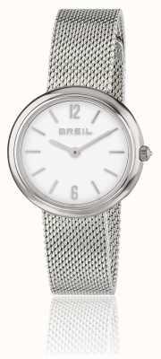 Breil Iris mostrador branco pulseira de malha de aço inoxidável TW1776