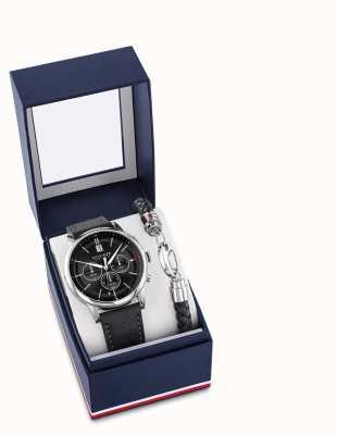Tommy Hilfiger Conjunto de presente para pulseira e relógio de couro preto para homem 2770058