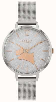 Radley Caminhada de anjo | pulseira de malha de prata | mostrador de glitter | RY4403