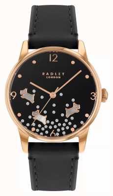 Radley Ditsy cachorro glitter | pulseira de couro azul marinho | mostrador preto | RY2890