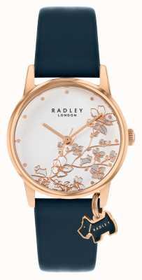 Radley Floral botânico | pulseira de couro azul marinho | mostrador floral prateado | RY2880