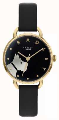 Radley Rua de madeira | pulseira de couro preto | motivo de cachorro com discagem preta | RY2876