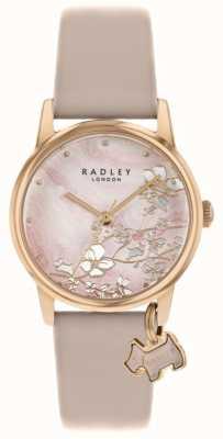 Radley Floral botânico | pulseira de couro nu | mostrador floral rosa | RY2884