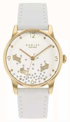 Radley Ditsy cachorro glitter | pulseira de couro branco | mostrador branco com glitter RY2892