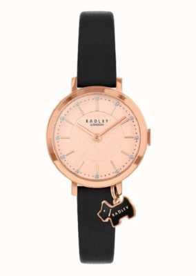 Radley Rua Selby | pulseira de couro preto | mostrador em ouro rosa | RY2928