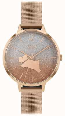 Radley Caminhada de anjo | pulseira de malha de ouro rosa | mostrador de brilho de dois tons RY4402